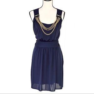 Milly chain neck sheath dress navy blue sz L